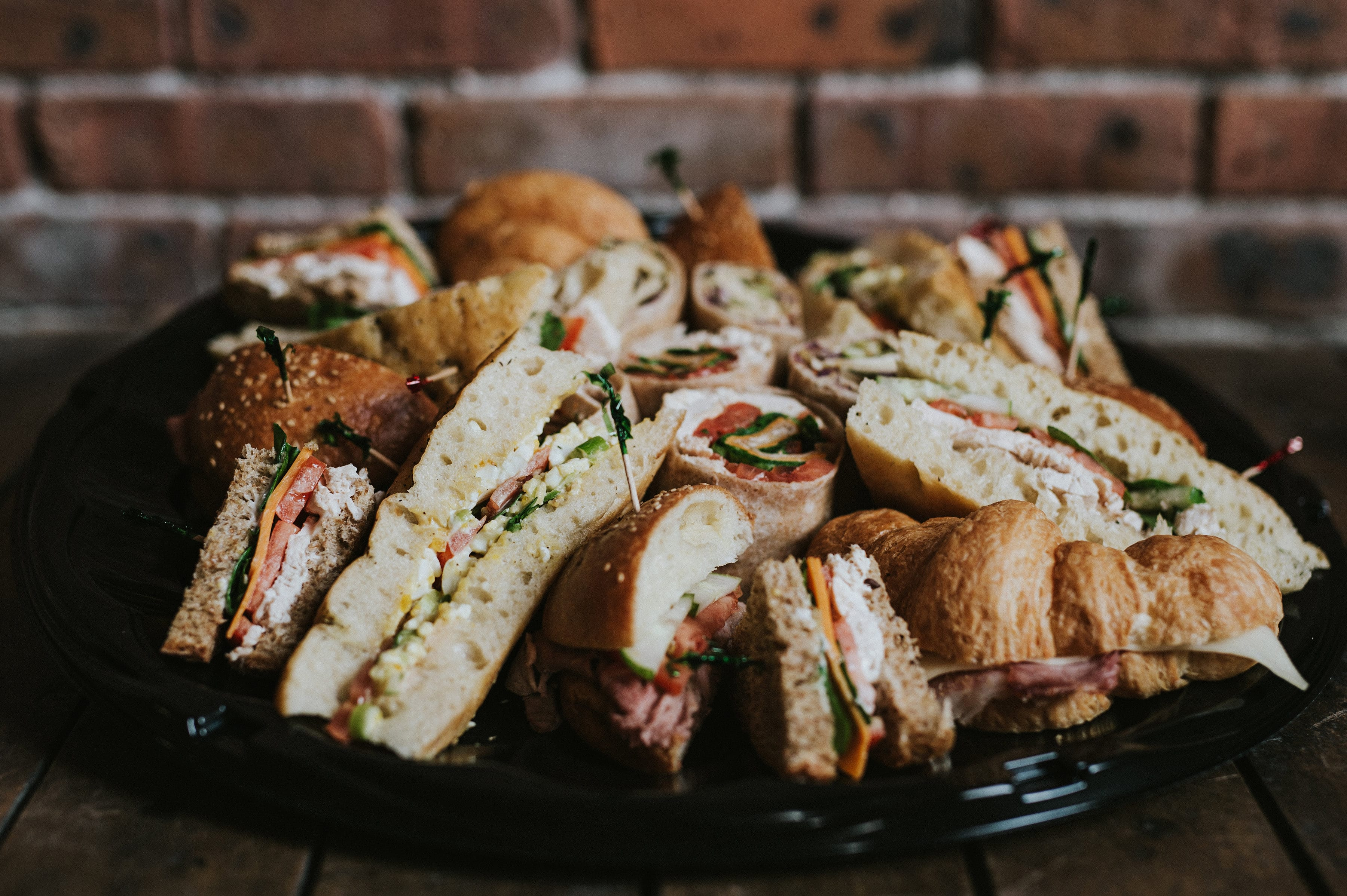 A platter of Rocket Bakery's assorted sandwich tray for catering in St. John's, Newfoundland