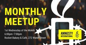 Amnesty International St. John's Monthly Meetup @ Rocket Bakery - Water Street
